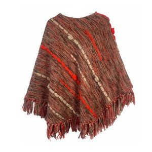 Vntg 70s Wool Fringe Poncho Nubby Woven Hippie OS